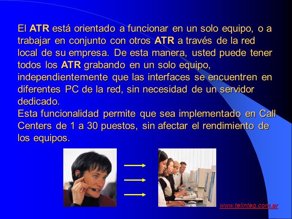 www.telinteg.com.ar El ATR está orientado a funcionar en un solo equipo, o a trabajar en conjunto con otros ATR a través de la red local de su empresa