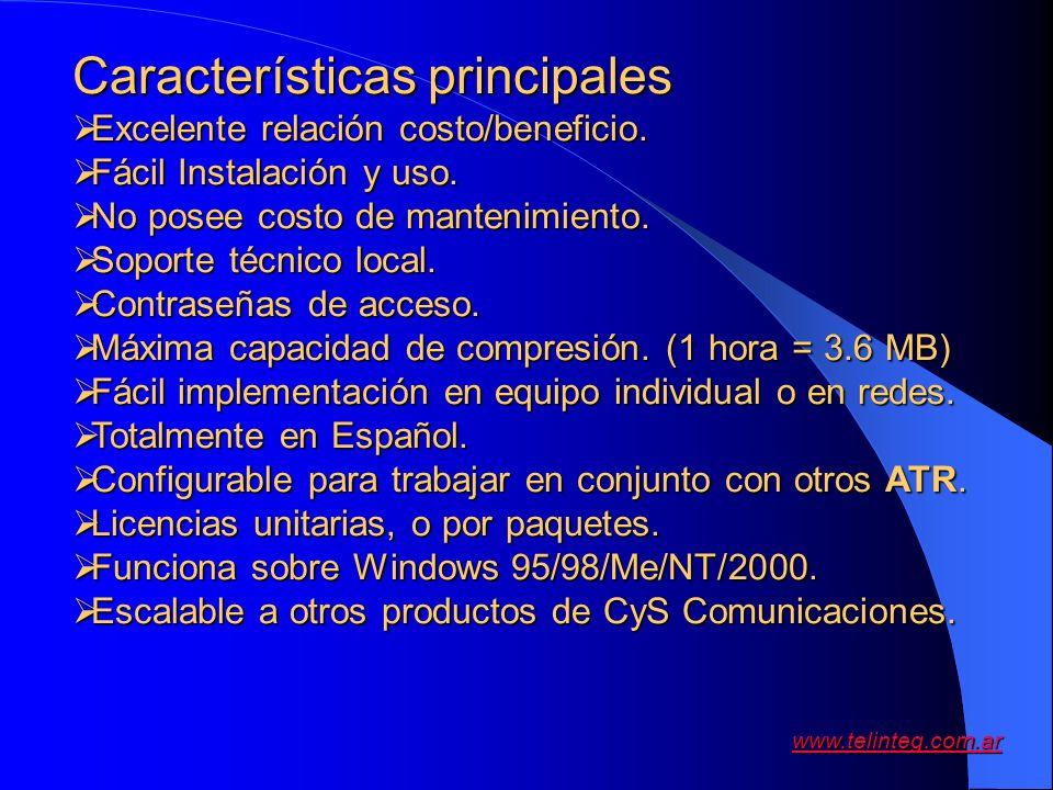 www.telinteg.com.ar Características principales Excelente relación costo/beneficio. Excelente relación costo/beneficio. Fácil Instalación y uso. Fácil