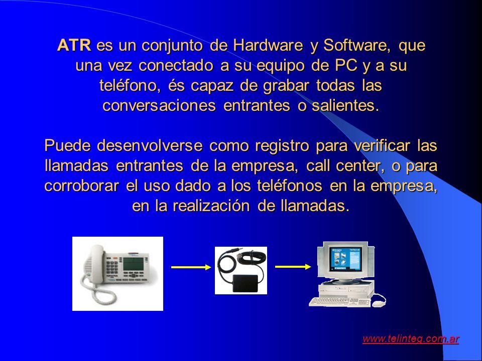 www.telinteg.com.ar ATR es un conjunto de Hardware y Software, que una vez conectado a su equipo de PC y a su teléfono, és capaz de grabar todas las c