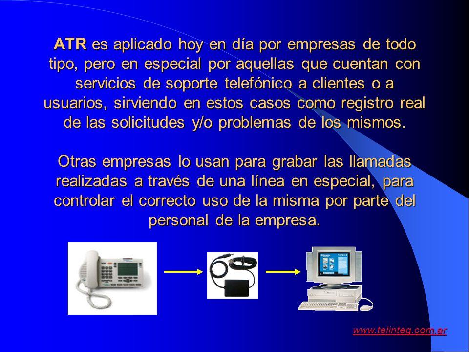 www.telinteg.com.ar ATR es aplicado hoy en día por empresas de todo tipo, pero en especial por aquellas que cuentan con servicios de soporte telefónic
