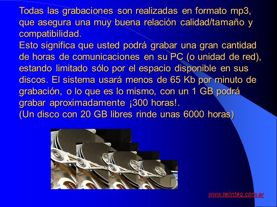 www.telinteg.com.ar Todas las grabaciones son realizadas en formato mp3, que asegura una muy buena relación calidad/tamaño y compatibilidad. Esto sign