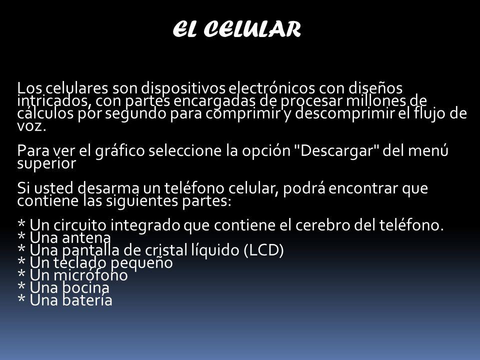 EL CELULAR Los celulares son dispositivos electrónicos con diseños intricados, con partes encargadas de procesar millones de cálculos por segundo para comprimir y descomprimir el flujo de voz.