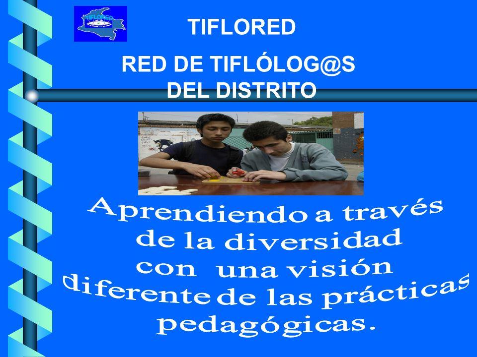 TIFLORED RED DE TIFLÓLOG@S DEL DISTRITO Bajo la modalidad de educación formal, once Instituciones oficiales distribuidas en las diferentes localidades de la ciudad, ofrecen atención educativa a los escolares con limitación visual,(ciegos, baja visión) integrados al aula regular.