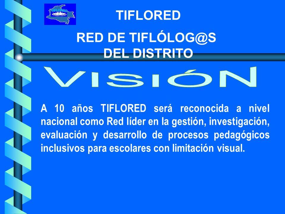 TIFLORED RED DE TIFLÓLOG@S DEL DISTRITO Una Red conformada por el equipo de Tiflólog@s y Educadores Especiales que actualmente hacemos parte de 11 Colegios Integradores/inclusivos de escolares con limitación visual, con el apoyo de la Secretaria de Educación Distrital y la Comunidad Educativa.