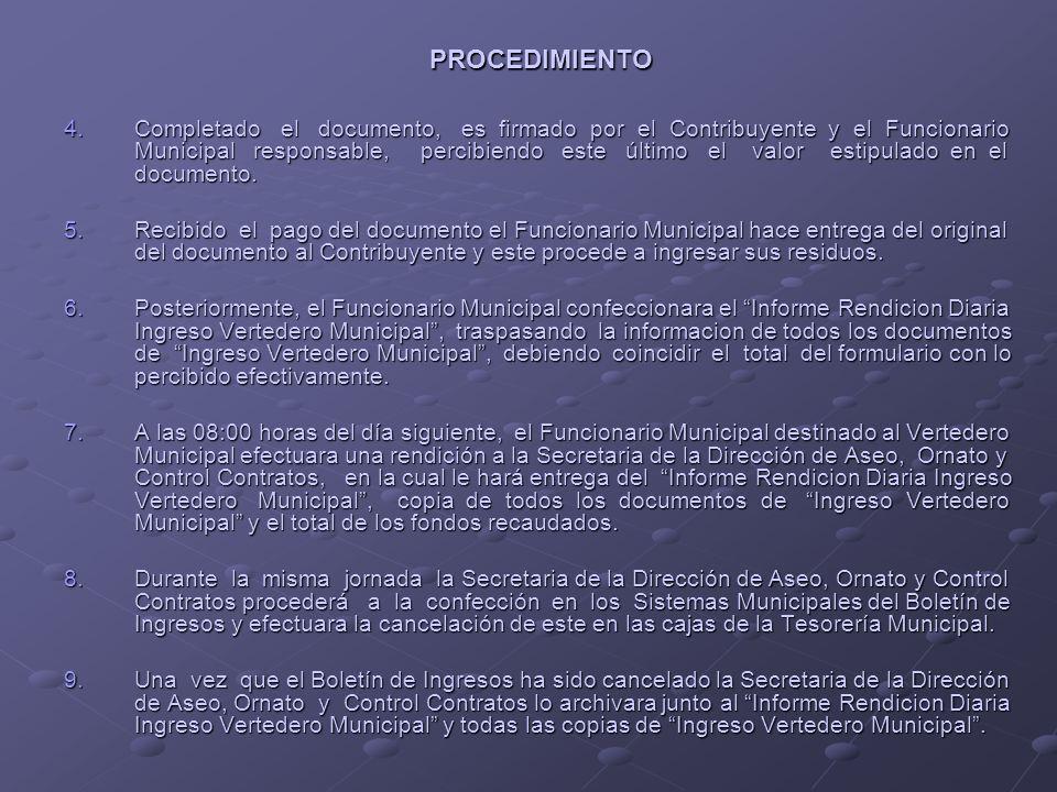 CONTRIBUYENTE FUNCIONARIO DEL VERTEDERO SECRETARIAD.A.O.C.TESORERIAMUNICIPAL 1 2 3 Inicio RevisiónOcular IngresoVertedero PROCEDIMIENTO PARA EL COBRO DE DERECHOS POR EL USO NO FRECUENTE DEL RELLENO SANITARIO