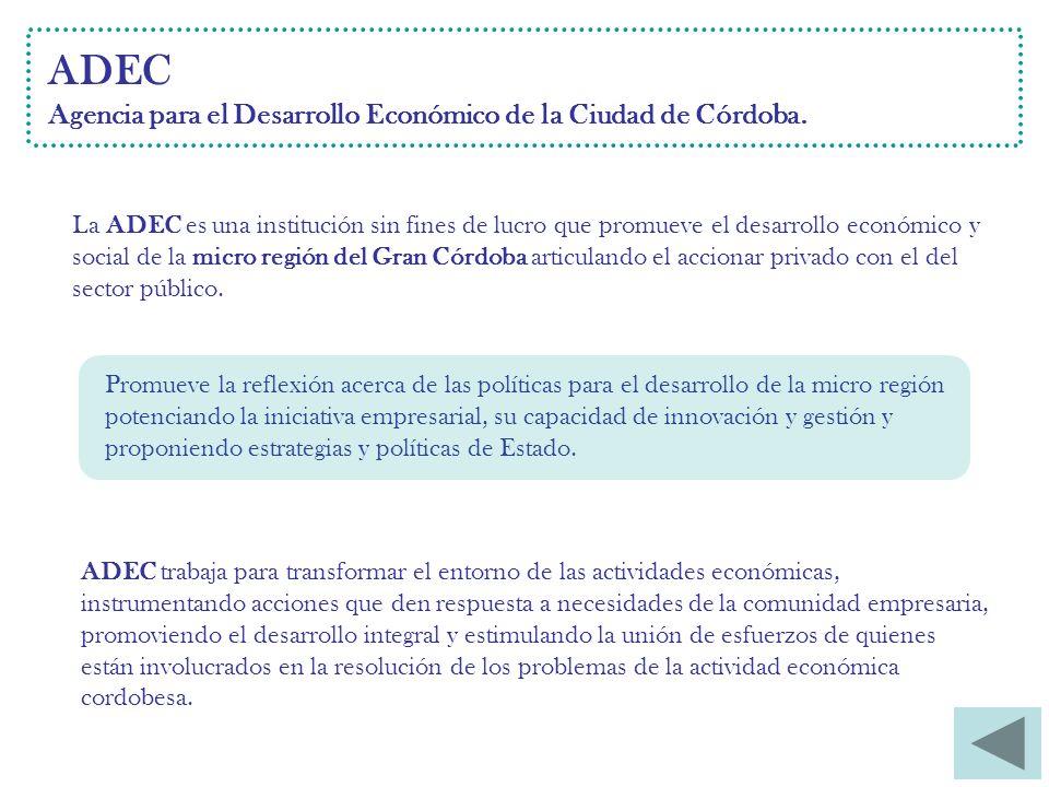 ADEC Agencia para el Desarrollo Económico de la Ciudad de Córdoba.