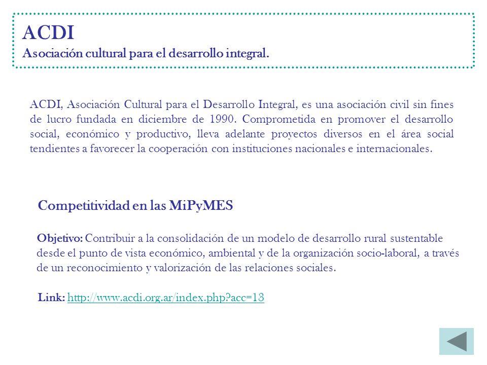 ACDI Asociación cultural para el desarrollo integral.