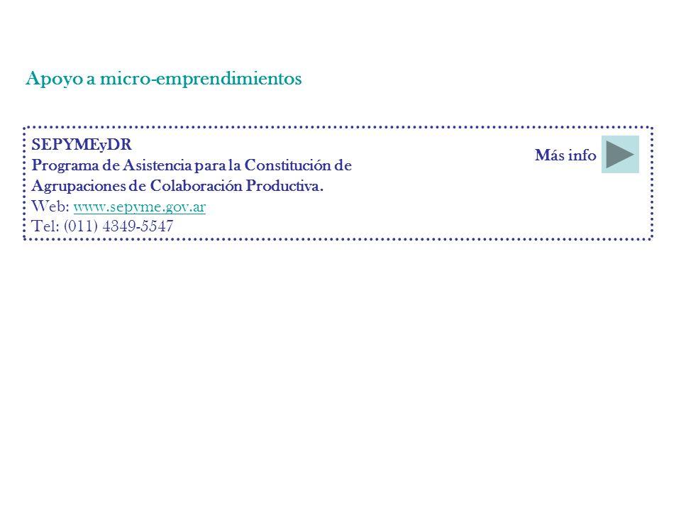 Apoyo a micro-emprendimientos SEPYMEyDR Programa de Asistencia para la Constitución de Agrupaciones de Colaboración Productiva.