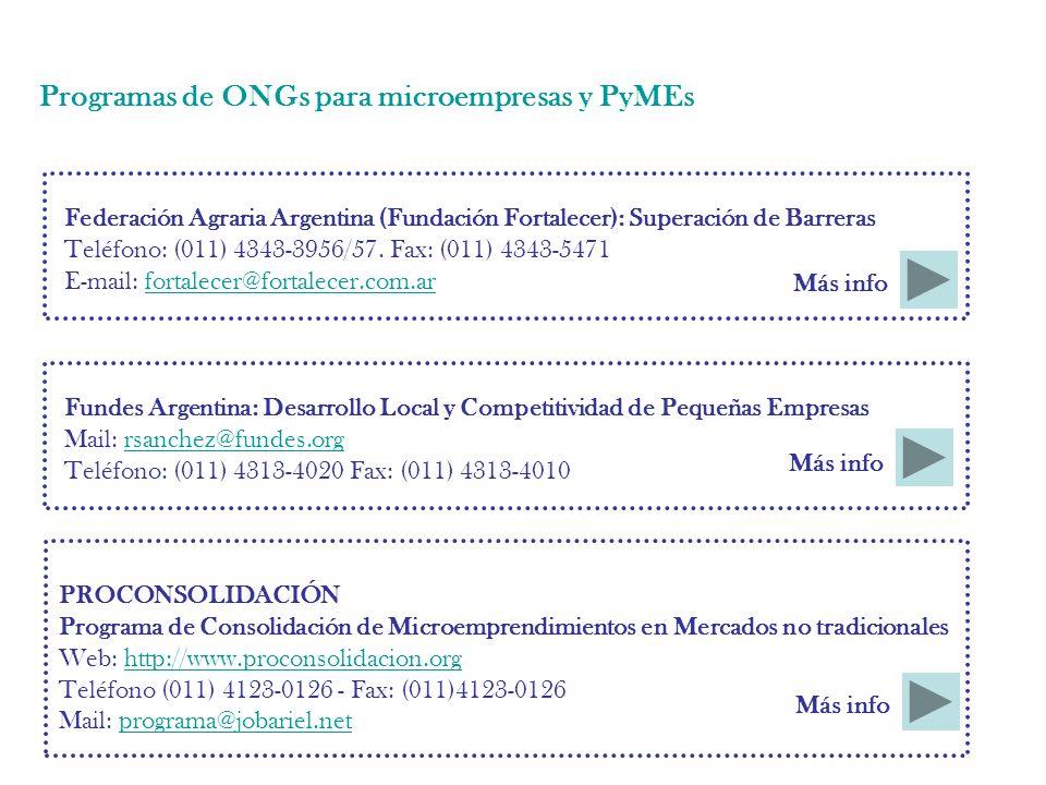 Programas de ONGs para microempresas y PyMEs Federación Agraria Argentina (Fundación Fortalecer): Superación de Barreras Teléfono: (011) 4343-3956/57.