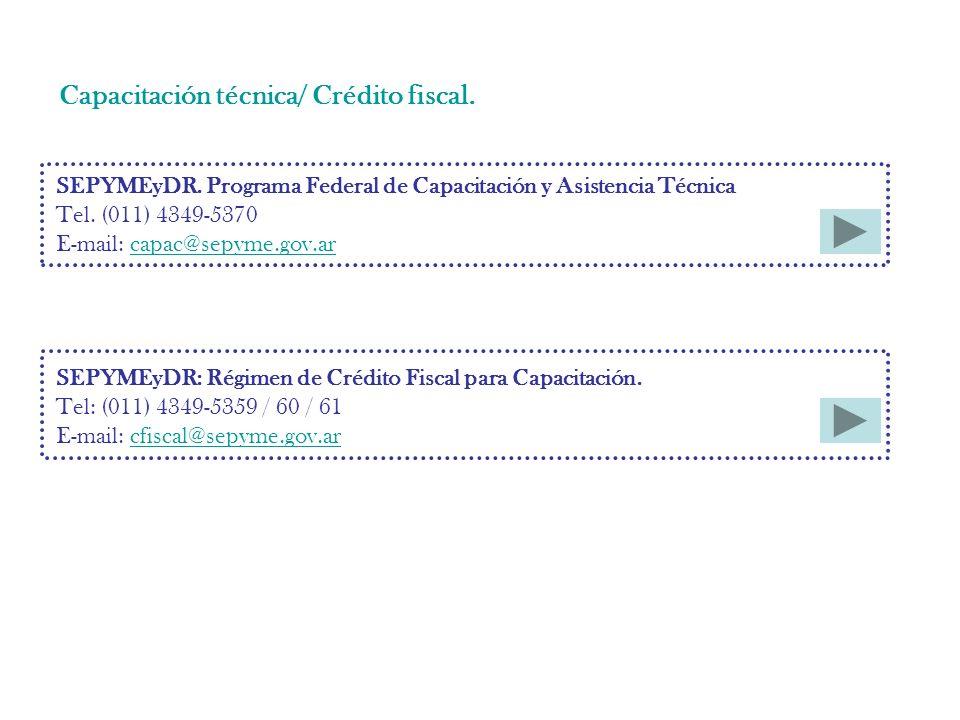 Capacitación técnica/ Crédito fiscal. SEPYMEyDR.