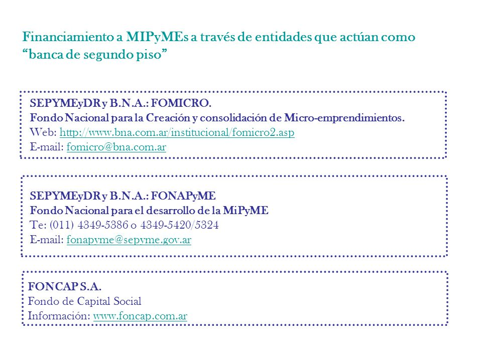 Financiamiento a MIPyMEs a través de entidades que actúan como banca de segundo piso SEPYMEyDR y B.N.A.: FOMICRO.