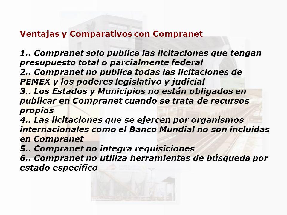 Ventajas y Comparativos con Compranet 1.. Compranet solo publica las licitaciones que tengan presupuesto total o parcialmente federal 2.. Compranet no