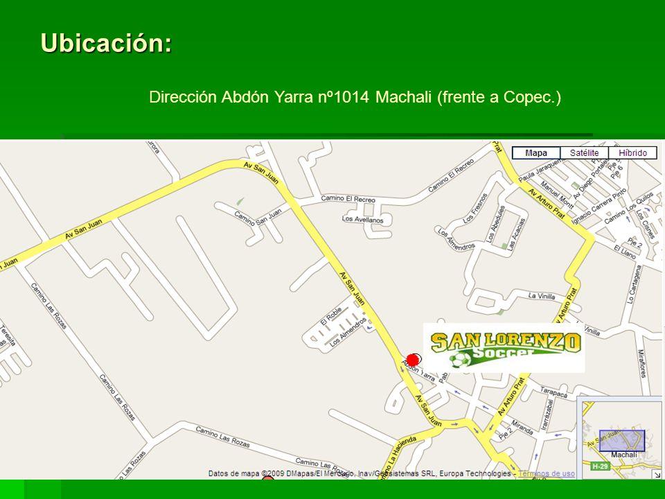 Ubicación: Dirección Abdón Yarra nº1014 Machali (frente a Copec.)