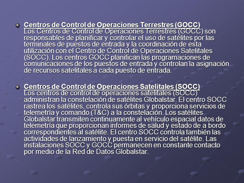 Centros de Control de Operaciones Terrestres (GOCC) Los Centros de Control de Operaciones Terrestres (GOCC) son responsables de planificar y controlar