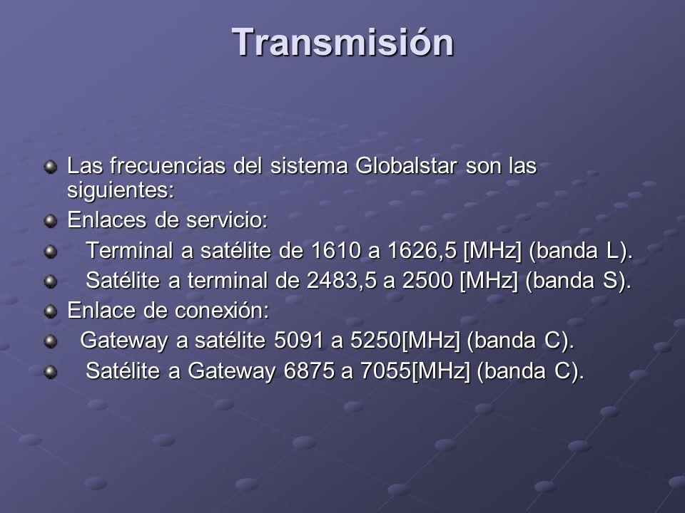 Transmisión Las frecuencias del sistema Globalstar son las siguientes: Enlaces de servicio: Terminal a satélite de 1610 a 1626,5 [MHz] (banda L). Term