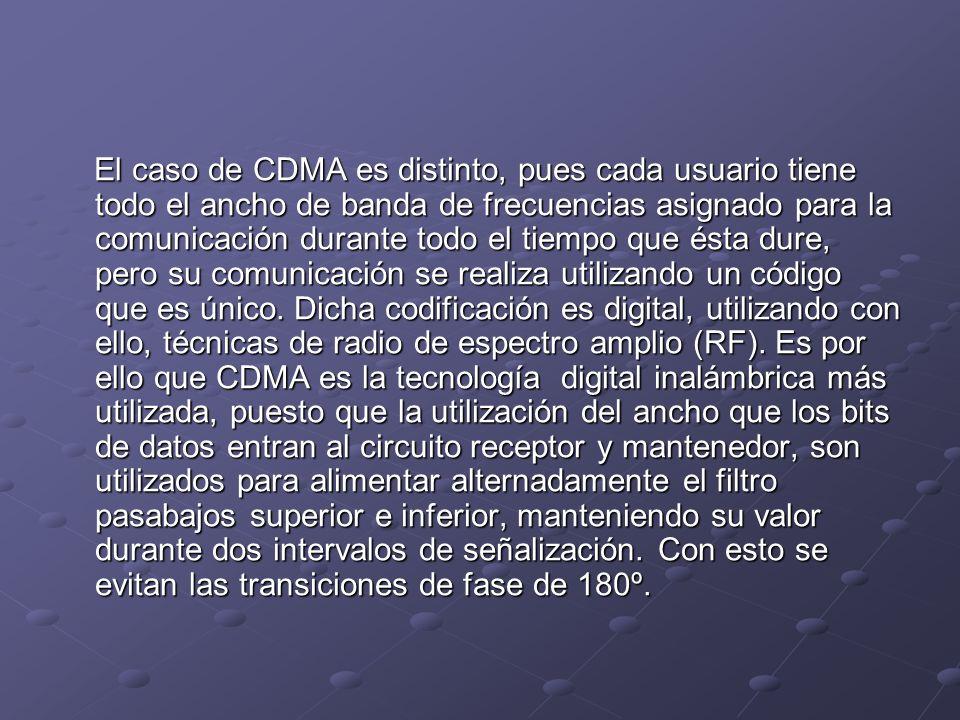 El caso de CDMA es distinto, pues cada usuario tiene todo el ancho de banda de frecuencias asignado para la comunicación durante todo el tiempo que és