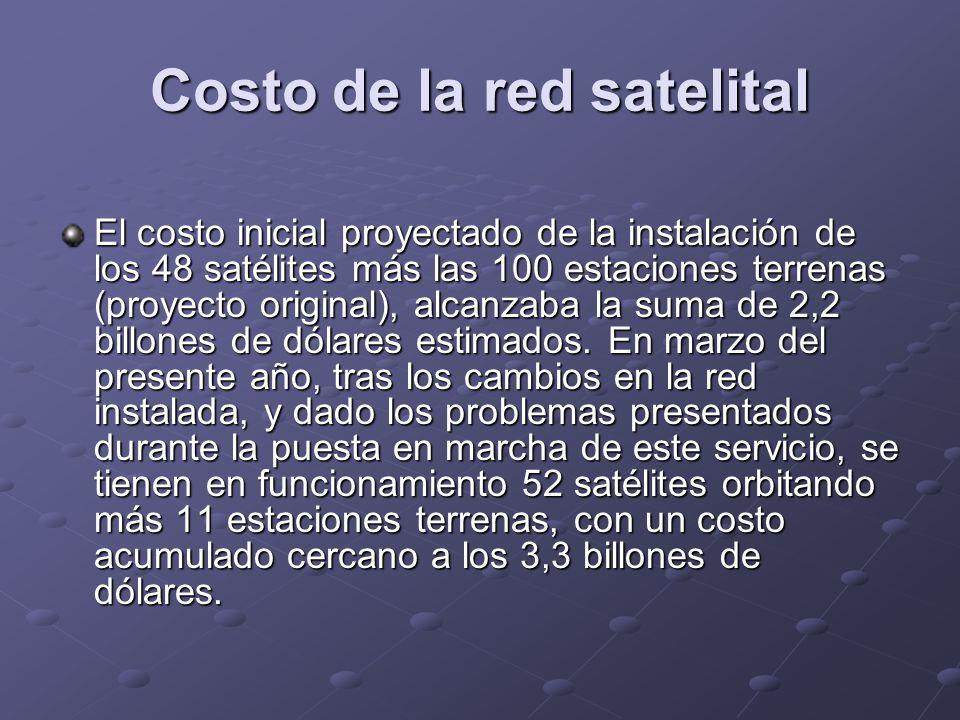 Costo de la red satelital El costo inicial proyectado de la instalación de los 48 satélites más las 100 estaciones terrenas (proyecto original), alcan