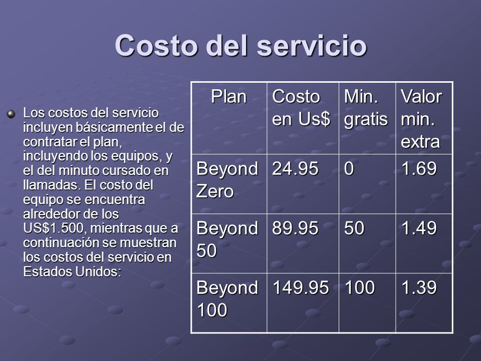 Costo del servicio Los costos del servicio incluyen básicamente el de contratar el plan, incluyendo los equipos, y el del minuto cursado en llamadas.
