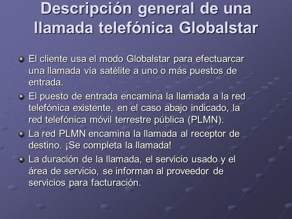 Descripción general de una llamada telefónica Globalstar El cliente usa el modo Globalstar para efectuarcar una llamada vía satélite a uno o más puest