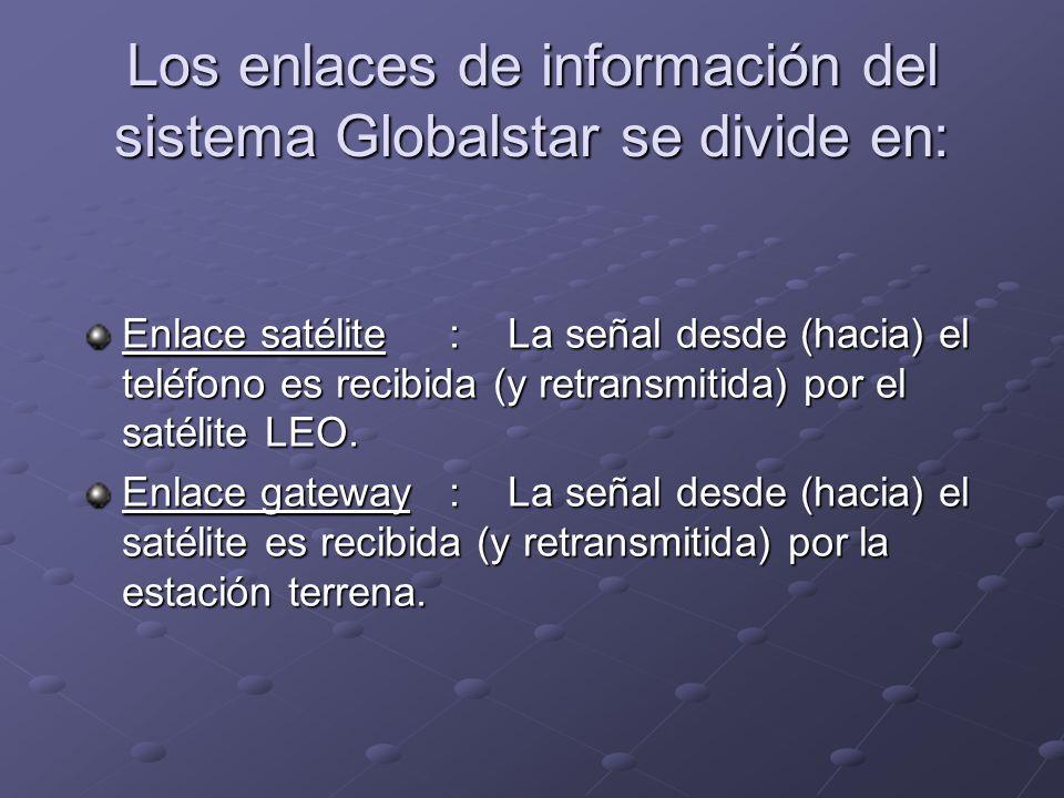 Enlace satélite : La señal desde (hacia) el teléfono es recibida (y retransmitida) por el satélite LEO. Enlace gateway :La señal desde (hacia) el saté