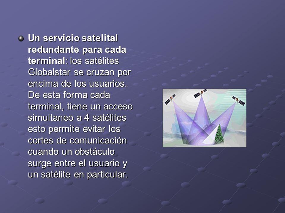 Un servicio satelital redundante para cada terminal: los satélites Globalstar se cruzan por encima de los usuarios. De esta forma cada terminal, tiene