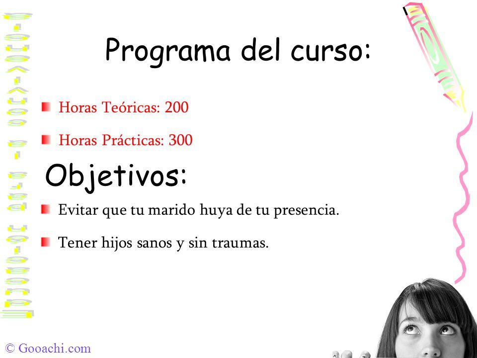 © Gooachi.com Programa del curso: Horas Teóricas: 200 Horas Prácticas: 300 Objetivos: Evitar que tu marido huya de tu presencia. Tener hijos sanos y s