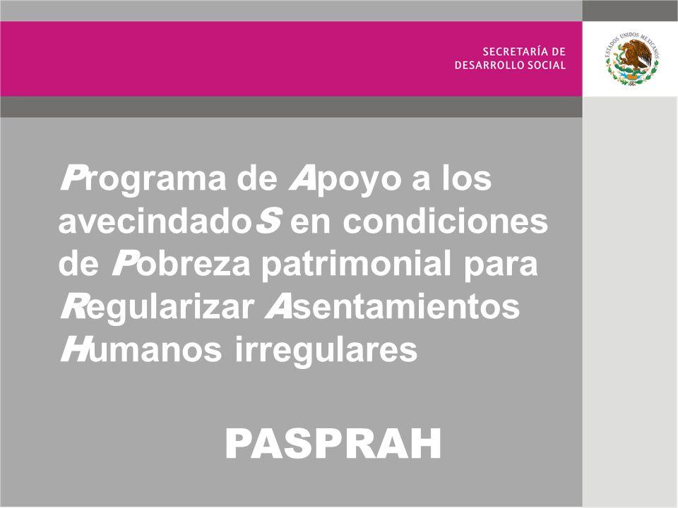 P rograma de A poyo a los avecindado S en condiciones de P obreza patrimonial para R egularizar A sentamientos H umanos irregulares PASPRAH