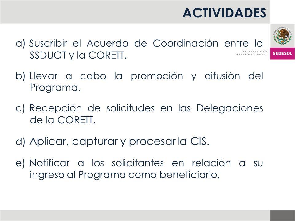 ACTIVIDADES a) Suscribir el Acuerdo de Coordinación entre la SSDUOT y la CORETT. b) Llevar a cabo la promoción y difusión del Programa. c) Recepción d