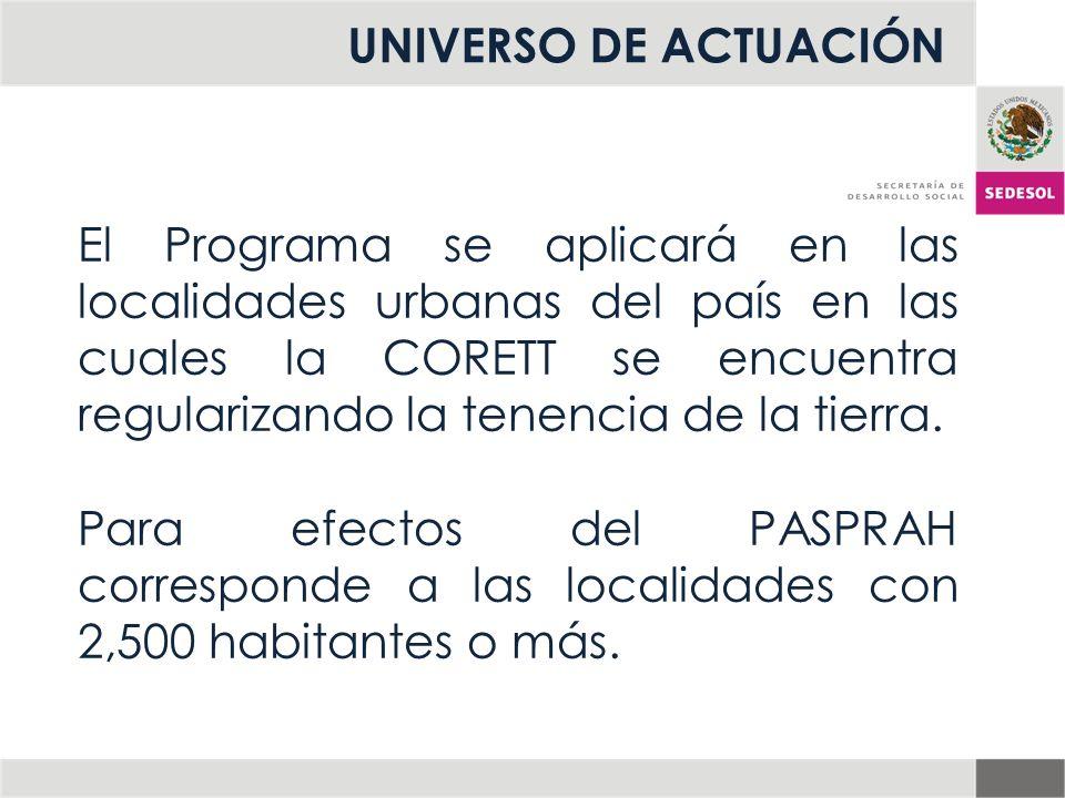 UNIVERSO DE ACTUACIÓN El Programa se aplicará en las localidades urbanas del país en las cuales la CORETT se encuentra regularizando la tenencia de la