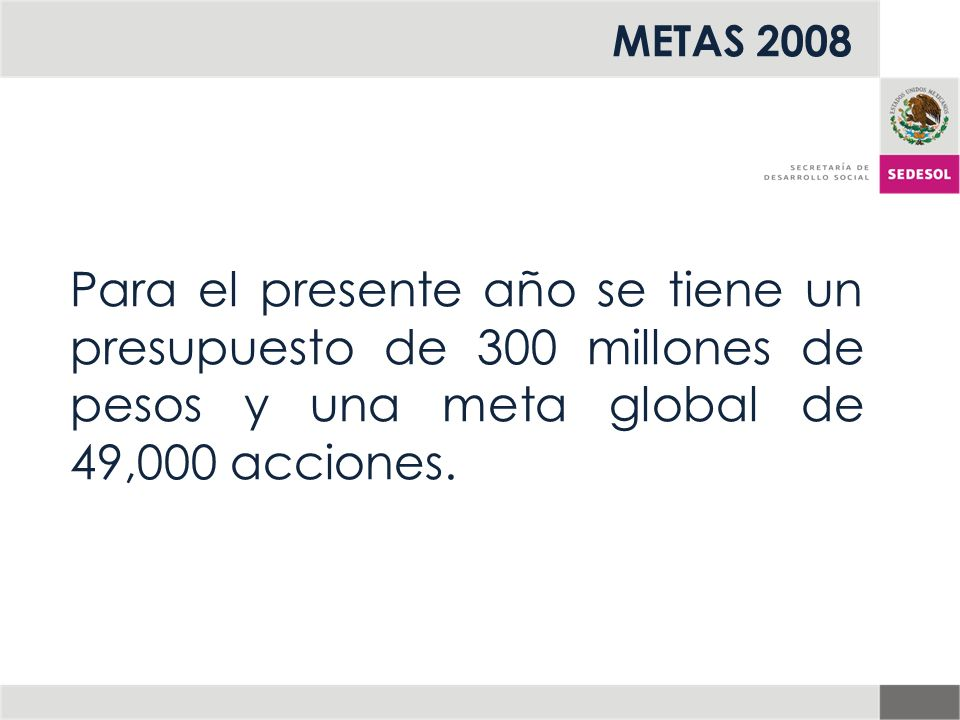 METAS 2008 Para el presente año se tiene un presupuesto de 300 millones de pesos y una meta global de 49,000 acciones.