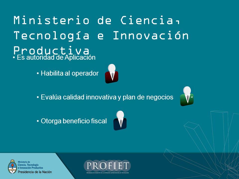 Es autoridad de Aplicación Habilita al operador Evalúa calidad innovativa y plan de negocios Otorga beneficio fiscal Ministerio de Ciencia, Tecnología