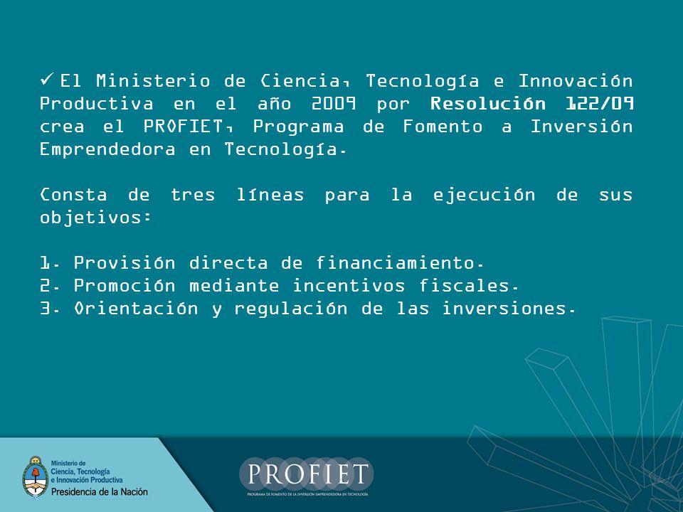 Promoción mediante incentivos fiscales El Ministerio de Ciencia, Tecnología e Innovación Productiva en el año 2010, por medio de la Resolución 69/10 establece: Normativa Pautas Procedimientos para evaluar y habilitar Operadores Procedimientos para Acreditar Inversores Características de los Fideicomisos a crear