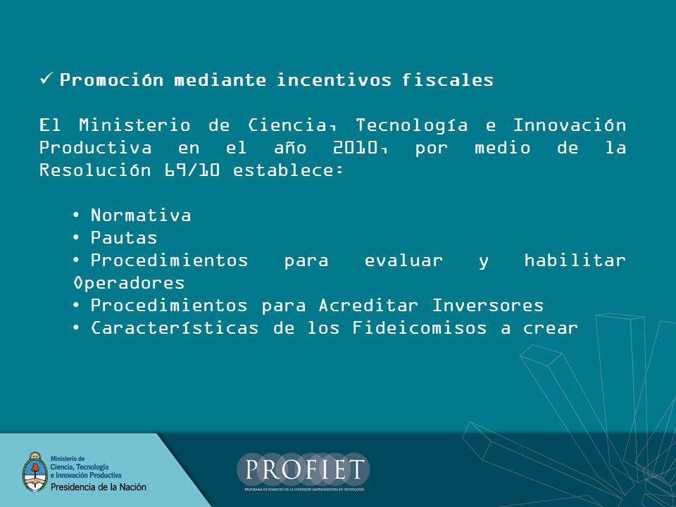 Promoción mediante incentivos fiscales El Ministerio de Ciencia, Tecnología e Innovación Productiva en el año 2010, por medio de la Resolución 69/10 e
