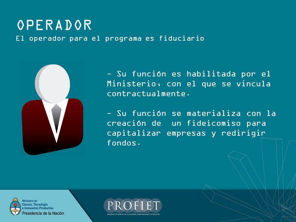OPERADOR El operador para el programa es fiduciario - Su función es habilitada por el Ministerio, con el que se vincula contractualmente. - Su función