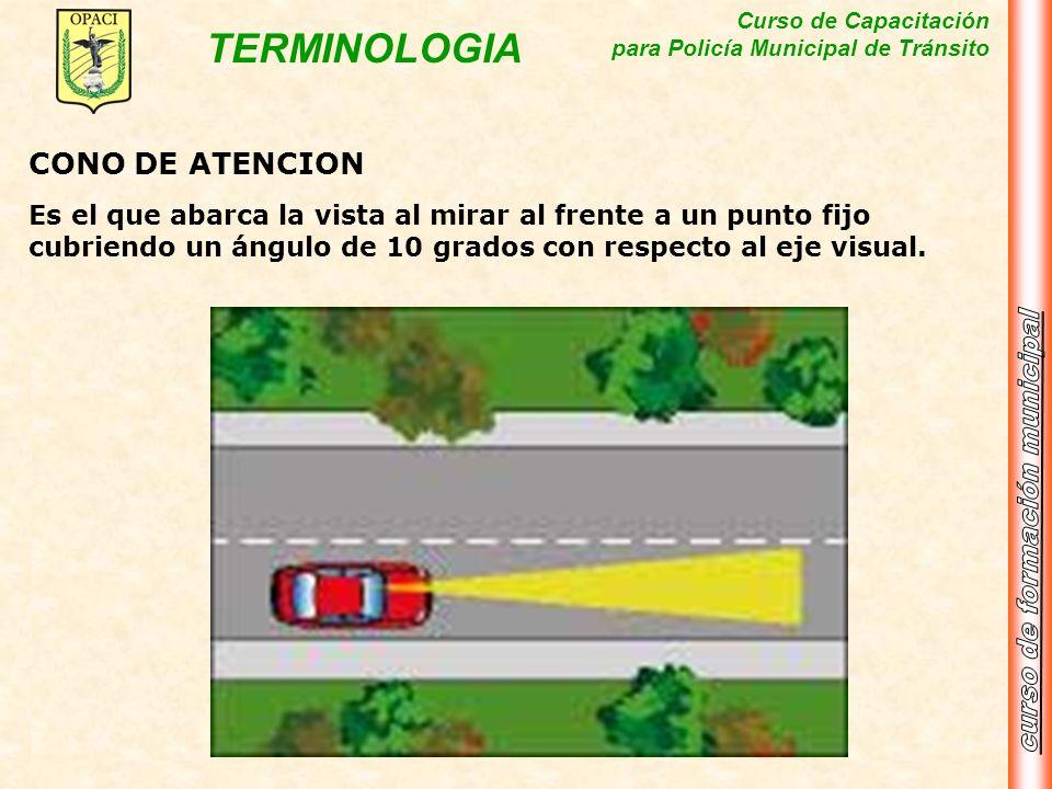 Curso de Capacitación para Policía Municipal de Tránsito TERMINOLOGIA CONO DE ATENCION Es el que abarca la vista al mirar al frente a un punto fijo cu