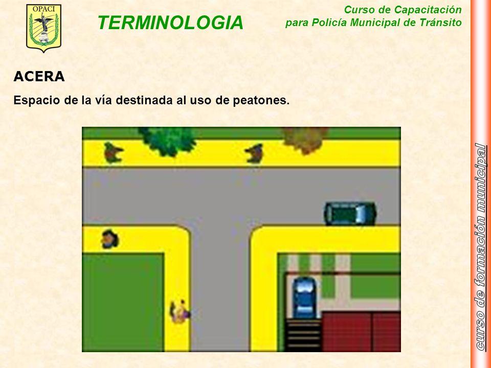Curso de Capacitación para Policía Municipal de Tránsito TERMINOLOGIA ACERA Espacio de la vía destinada al uso de peatones.