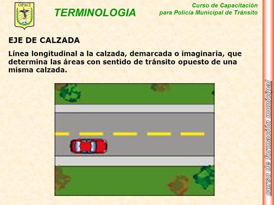 Curso de Capacitación para Policía Municipal de Tránsito TERMINOLOGIA EJE DE CALZADA Línea longitudinal a la calzada, demarcada o imaginaria, que dete