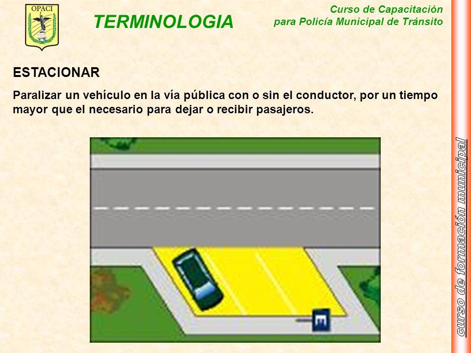 Curso de Capacitación para Policía Municipal de Tránsito TERMINOLOGIA ESTACIONAR Paralizar un vehículo en la vía pública con o sin el conductor, por u