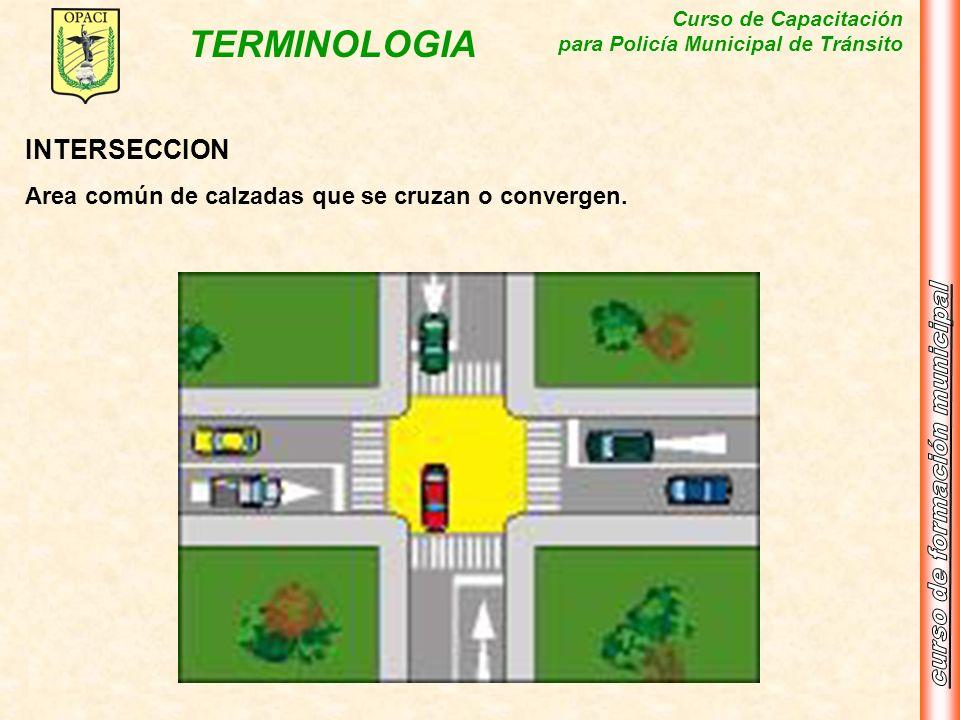 Curso de Capacitación para Policía Municipal de Tránsito TERMINOLOGIA INTERSECCION Area común de calzadas que se cruzan o convergen.
