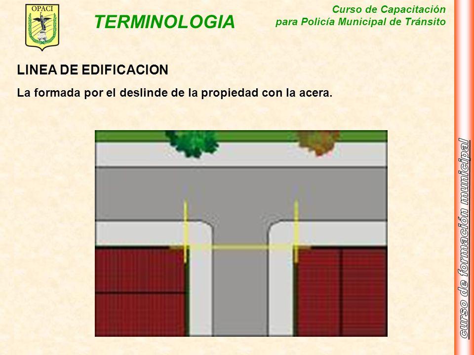 Curso de Capacitación para Policía Municipal de Tránsito TERMINOLOGIA LINEA DE EDIFICACION La formada por el deslinde de la propiedad con la acera.