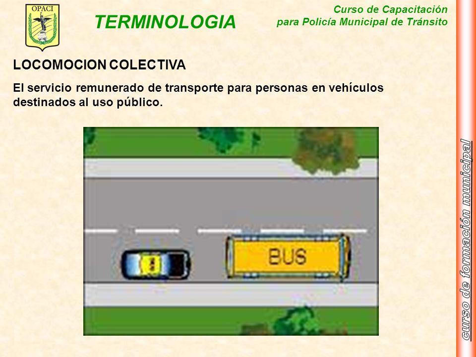 Curso de Capacitación para Policía Municipal de Tránsito TERMINOLOGIA LOCOMOCION COLECTIVA El servicio remunerado de transporte para personas en vehíc
