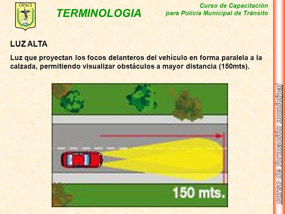 Curso de Capacitación para Policía Municipal de Tránsito TERMINOLOGIA LUZ ALTA Luz que proyectan los focos delanteros del vehículo en forma paralela a