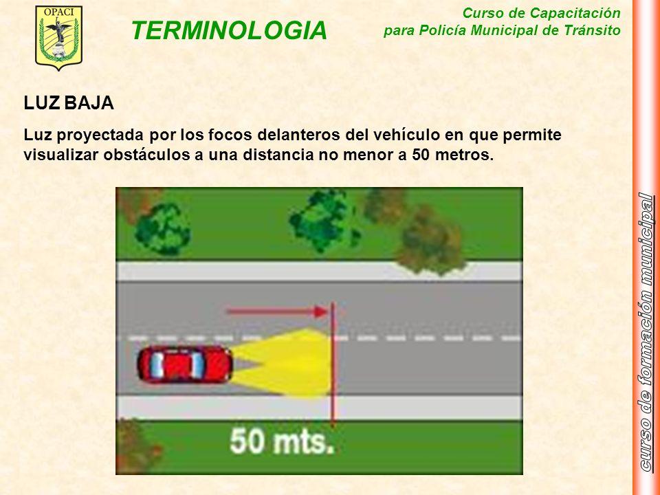 Curso de Capacitación para Policía Municipal de Tránsito TERMINOLOGIA LUZ BAJA Luz proyectada por los focos delanteros del vehículo en que permite vis