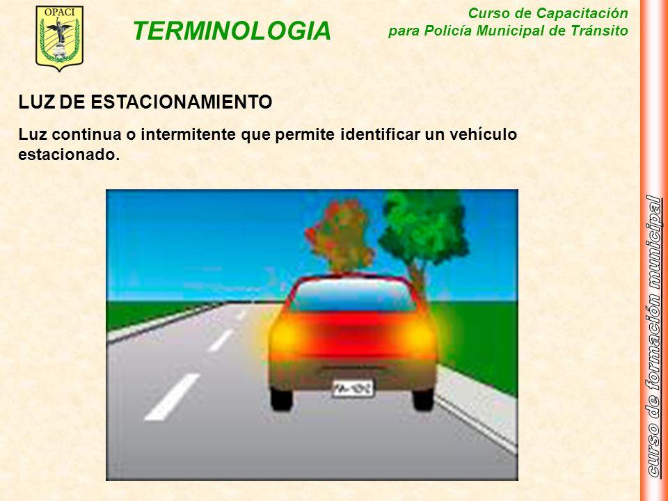 Curso de Capacitación para Policía Municipal de Tránsito TERMINOLOGIA LUZ DE ESTACIONAMIENTO Luz continua o intermitente que permite identificar un ve