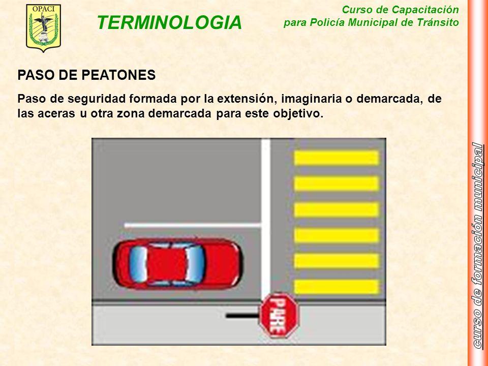 Curso de Capacitación para Policía Municipal de Tránsito TERMINOLOGIA PASO DE PEATONES Paso de seguridad formada por la extensión, imaginaria o demarc