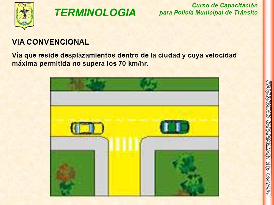 Curso de Capacitación para Policía Municipal de Tránsito TERMINOLOGIA VIA CONVENCIONAL Vía que reside desplazamientos dentro de la ciudad y cuya veloc