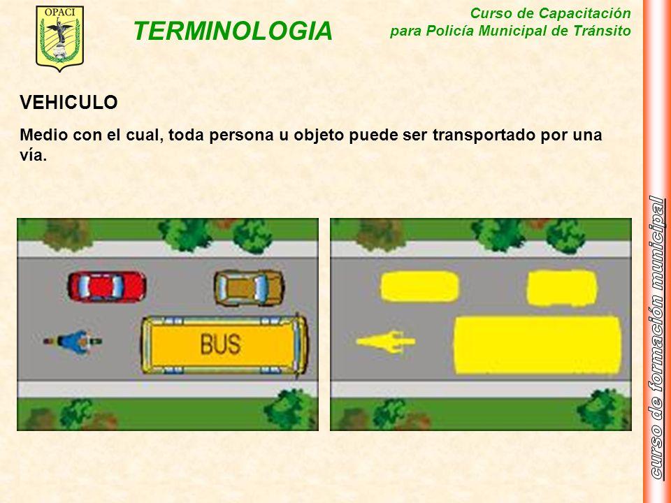 Curso de Capacitación para Policía Municipal de Tránsito TERMINOLOGIA VEHICULO Medio con el cual, toda persona u objeto puede ser transportado por una