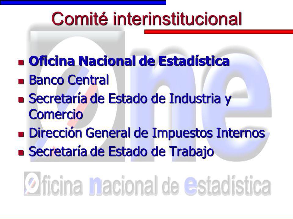 Comité interinstitucional Oficina Nacional de Estadística Oficina Nacional de Estadística Banco Central Banco Central Secretaría de Estado de Industri