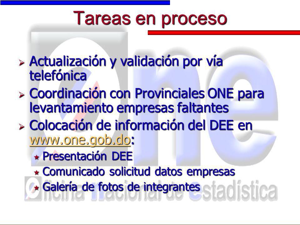 Tareas en proceso Actualización y validación por vía telefónica Actualización y validación por vía telefónica Coordinación con Provinciales ONE para l