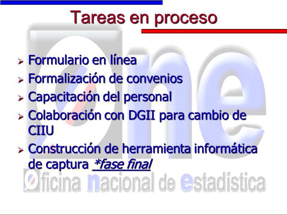 Tareas en proceso Formulario en línea Formulario en línea Formalización de convenios Formalización de convenios Capacitación del personal Capacitación